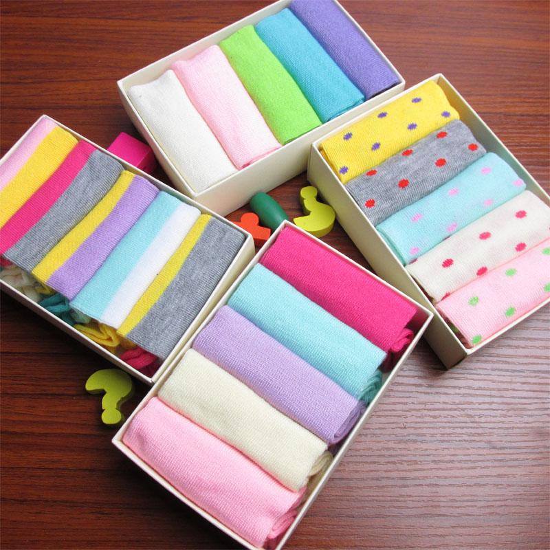糖果色可爱袜子点点款短袜子船袜5双礼盒装夏季男女袜