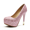 Round head waterproof sequins single shoes
