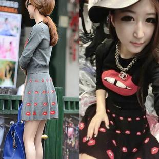 名媛小香风性感修身两件套针织套装毛衣红唇百褶裙短裙显瘦韩版女