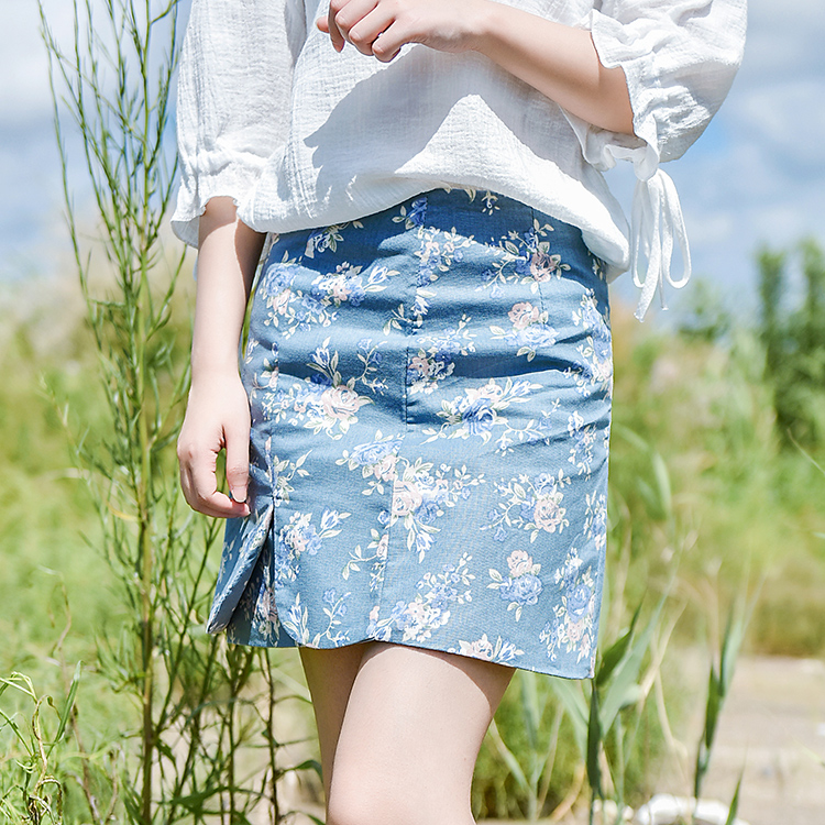 Váy/Váy chữ A nữ họa tiết hoa nhí