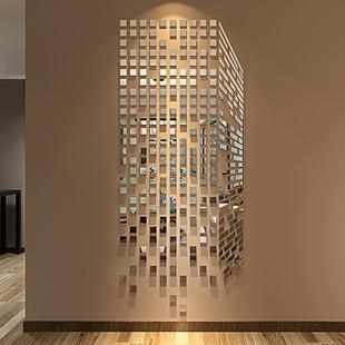 魔方3d亚克力立体镜面墙贴客厅卧室沙发电视背景房间墙壁装饰品