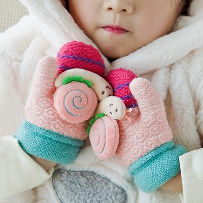 宝宝卡通手套婴幼儿小童手套秋冬天男女孩加厚连指小