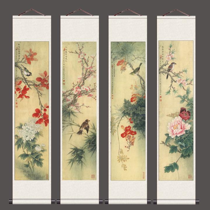 150乘以30李曉明工筆花鳥畫字畫卷軸絲綢畫批發定制秋意濃裝飾畫