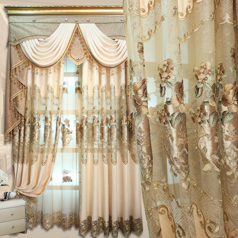 欧式绣花窗帘客厅