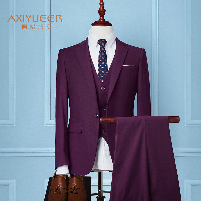 Color: Wine-red (suit + jacket + trousers)