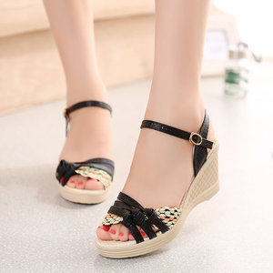 2015 summer new women's wedge sandals thick crust muffin female student straw hit color shoes waterproof Taiwan high-heeled shoes