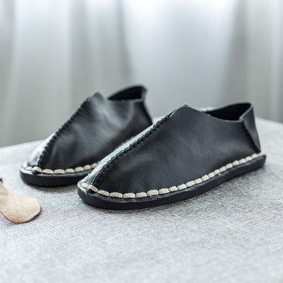 16春夏新款男鞋 真皮低帮鞋男套脚牛皮鞋子一脚蹬懒人但鞋潮韩版