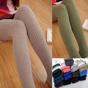 欧美顶级兔羊毛绒麻花条纹显瘦连裤袜 冬打底裤袜加厚 女袜子
