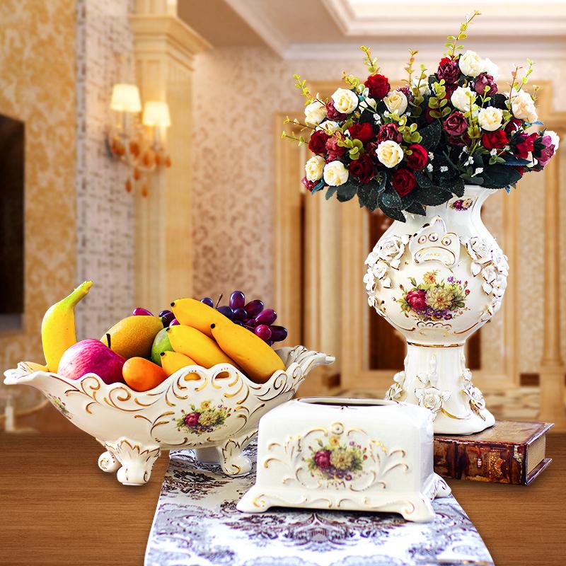 【祥泰家梓兮官网】欧式奢华复古创意陶瓷水果盘客厅
