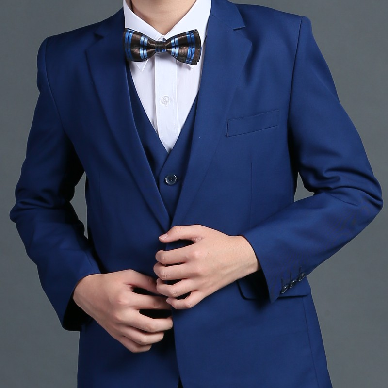 Color classification: Blue 5 piece set: jacket shirt vest pants tie