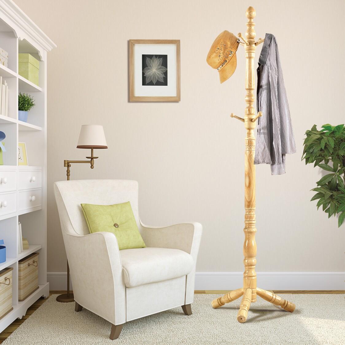 创意实木衣帽架落地简易欧式晾挂衣架卧室现代双杆