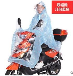 双帽檐电动车加厚透明雨衣