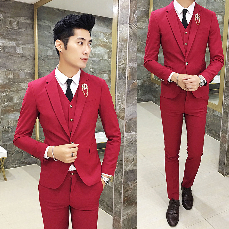 Color: Red suit + trousers