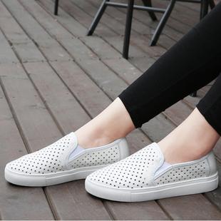 懒人真皮缕空女鞋平底休闲乐福鞋女软底平跟单鞋学生一脚蹬皮鞋