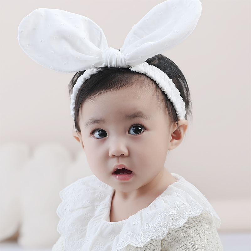 Color classification: White exaggerated ears headband