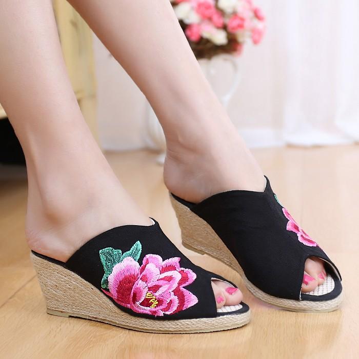 黑色3516春夏新款老布鞋亞麻坡跟牡丹繡花鞋編織高跟魚嘴女拖鞋涼鞋