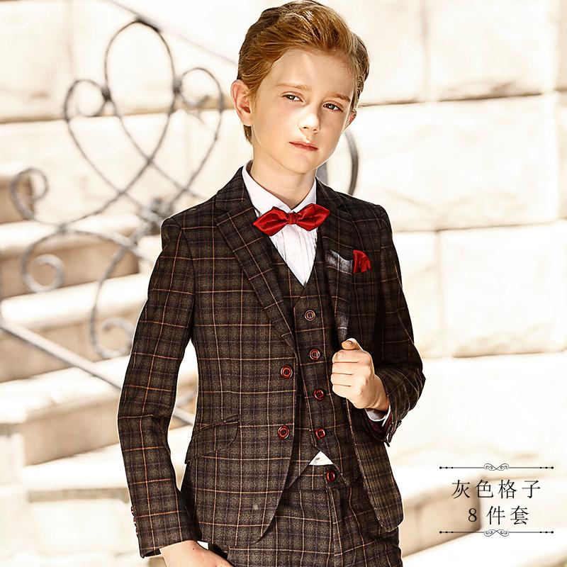 Цвет: Серый плед 8 кусок набор (костюм+рубашка+брюки+жилет+галстук-бабочка+нагрудный карман полотенце+брошь+носки)