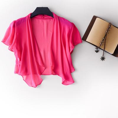 2016夏季新款 真丝纯色百搭开衫披肩防晒衫 长裙的好伴侣度假必备
