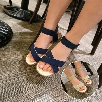 2016新款韩版夏季 鞋子女童宝宝魔术贴平底松紧带鞋露趾凉鞋百搭