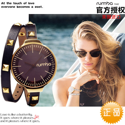 美国原装正品rumbatime手表女大表盘石英表时尚防水双绕式表带