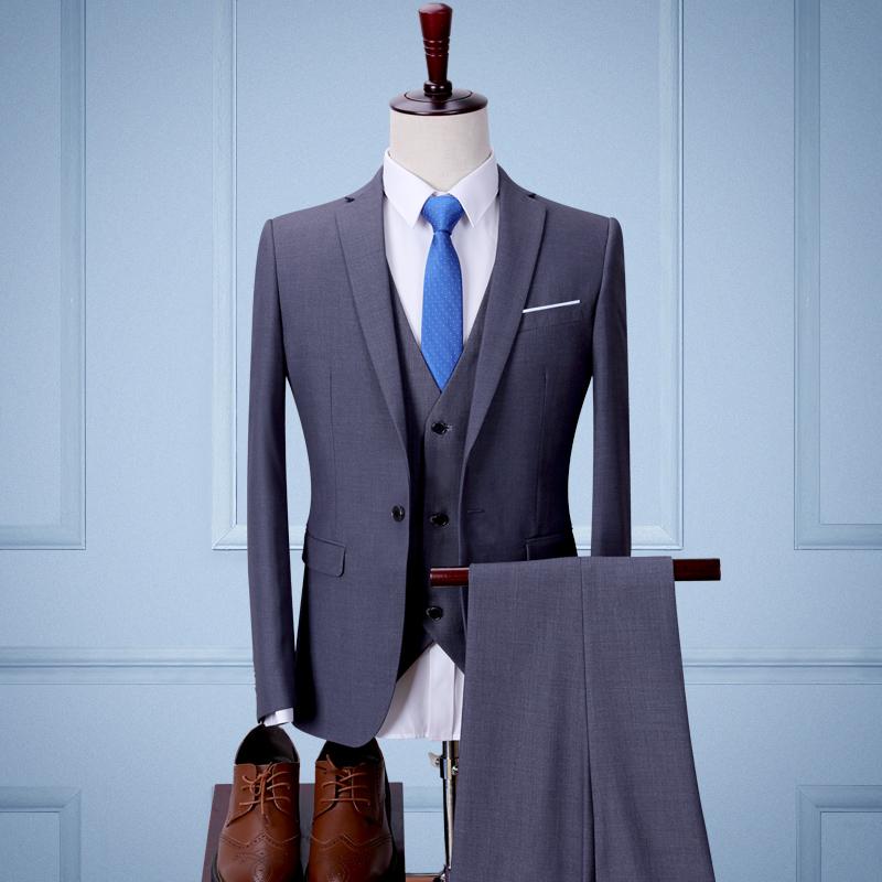 Color: Grey three piece suit (jacket + pants + vest)