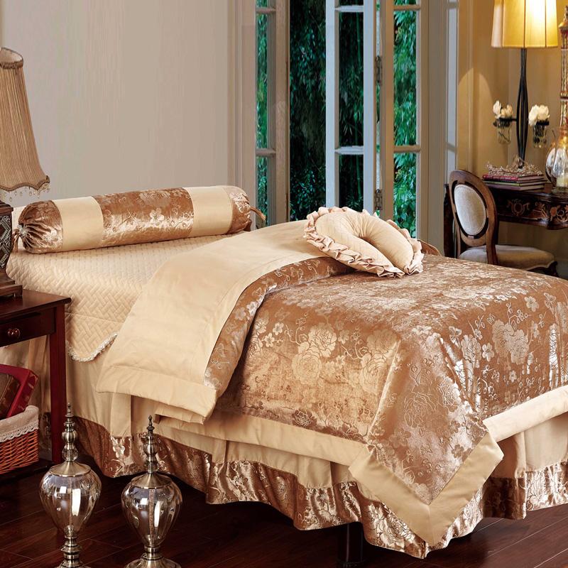 【结彩纺家纺官网】结彩纺欧式美容床罩四件套美容院