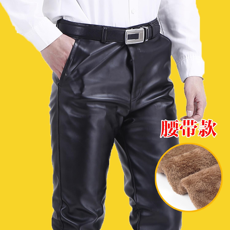 Цвет: Черные теплые случайные кожаные штаны (пояс)
