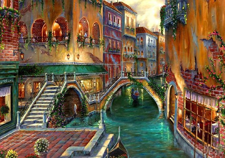 威尼斯水城1配:懷舊銀色框高清微印 單張價格56cm x 43cm威尼斯水城風景地歐式美式風格中海風格掛畫酒吧客廳臥室壁畫芯