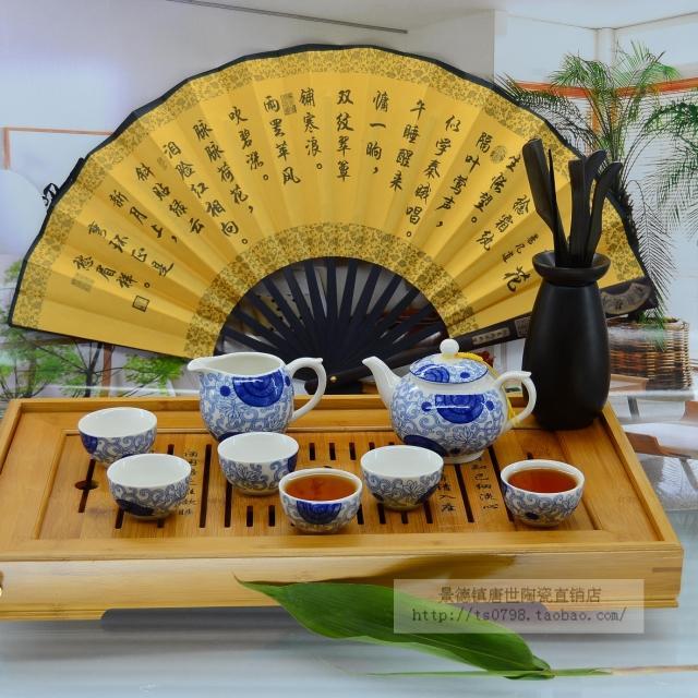 景德鎮陶瓷 8頭骨瓷茶具套裝 茶碗茶杯茶壺 功夫茶具 菊花