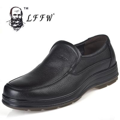 老人头皮鞋头层牛皮软皮厚底牛筋底中年套脚父亲鞋防滑鞋品牌皮鞋
