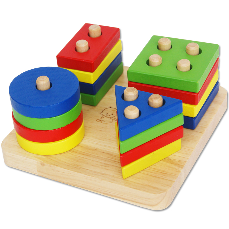 1 4 Year Old Baby Wooden Geometric Shapes Quill Cognitive Chunk