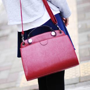新款韩版复古酒红色邮差包小包时尚女包单肩斜挎包女士包包潮
