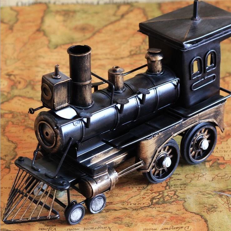 復古火車頭模型復古火車頭模型 蒸汽火車頭 手工做舊創意禮物客廳擺件