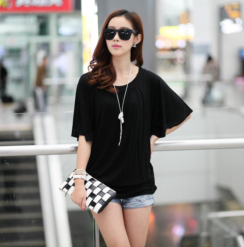 大碼T恤女2014年夏裝韓版女裝寬松大碼蝙蝠袖圓領T恤蝙蝠T恤女裝