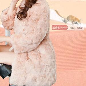 2014新款兔毛外套 中长款皮草女外套 反季特价清仓女修身短七分袖
