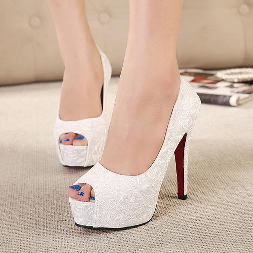 14新款白色婚紗鞋伴娘鞋旗袍鞋超高跟細跟鞋夏季單鞋粉色女鞋子34