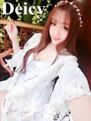 LINA实拍 夏天度假必备防晒棉麻蕾丝镂空百搭遮阳白色开衫 女装