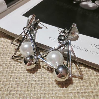 韩国时尚复古水钻珍珠三角形耳环耳钉简约气质个性耳饰百搭配饰品