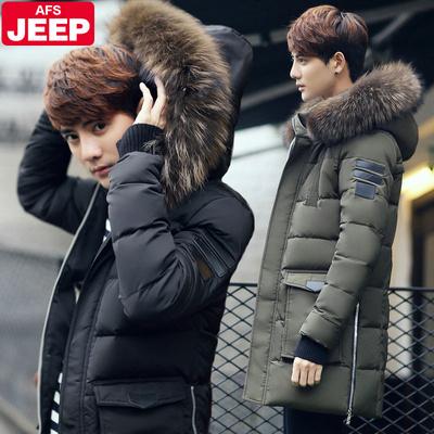 战地吉普冬装新款男装 韩版修身中长款羽绒服男士加厚大毛领外套