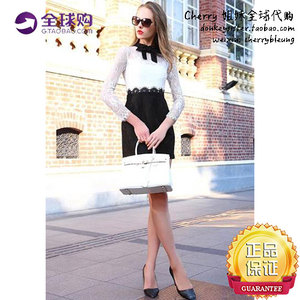 Fashion black and white long-sleeved round neck lace dress