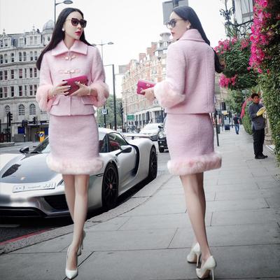 心霓儿同款长袖毛袖加厚毛呢套装女甜美小香风气质淑女包臀套装裙