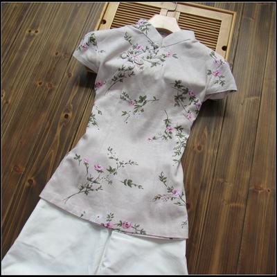 棉麻面料日常穿唐装女士短袖唐装上衣——素雅兰花草