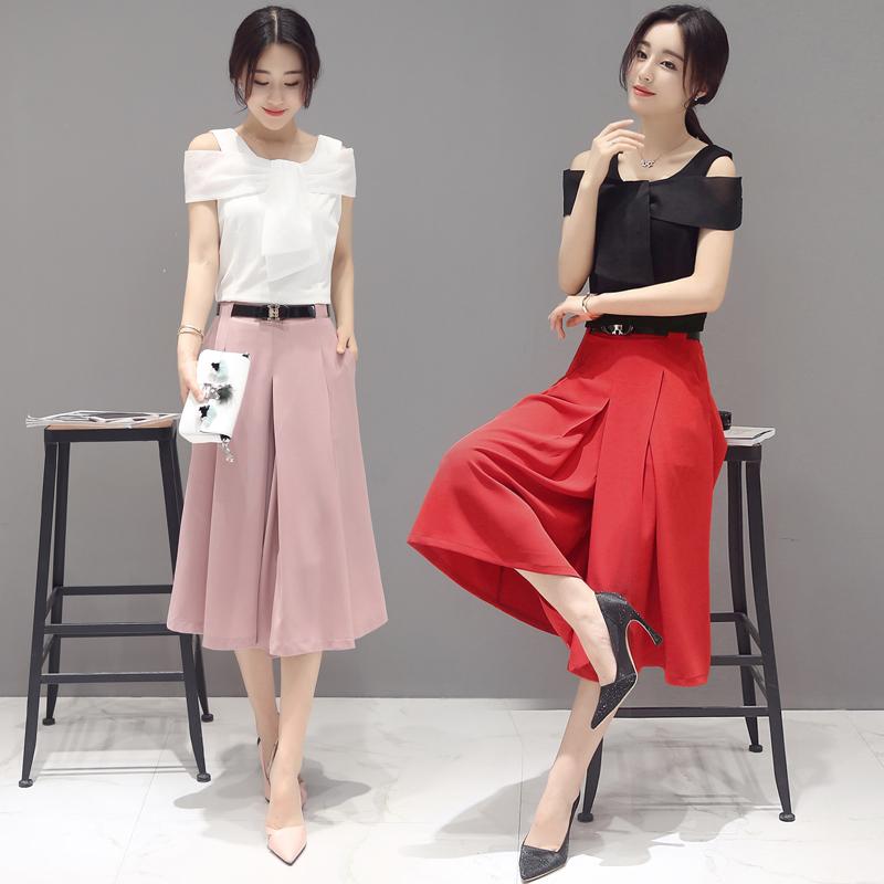 职业女装两件套装阔腿七分裤搭配蝴蝶结露肩衬衫