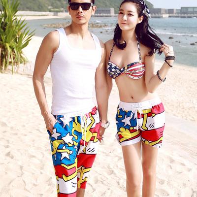 情侣沙滩裤 蜜月度假沙滩情侣裤 酷跑新款2015速干男女深卡其布色