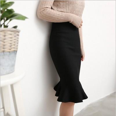 秋季新款半身裙 针织弹力鱼尾包臀半身裙淑女一步修身荷叶边短裙