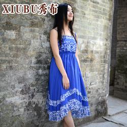 春季长裙棉麻无袖文艺中腰女装抽象图案裹胸裙子连衣裙特价促销