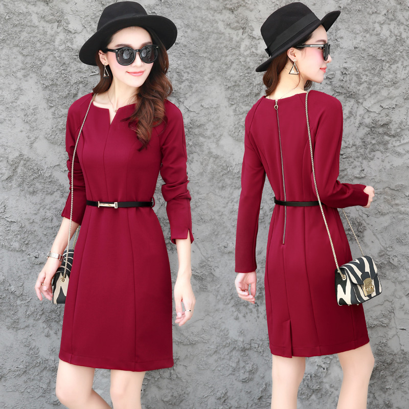 半开圆领红色针织打底连衣裙秋装长袖