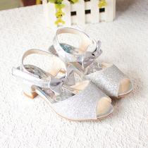 女童凉鞋2015夏季高跟女孩粉红色魔术贴韩版中大童橡胶金色银白色