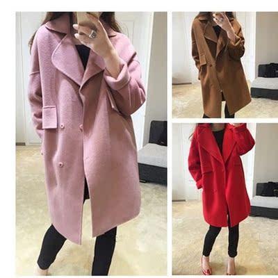 藕粉色外套2015秋季新款中长款气质羊毛呢子大衣韩版大码女装冬厚
