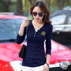 2015韩版新款秋衣女士外穿上衣服修身简约打底小衫桖长袖T恤女装